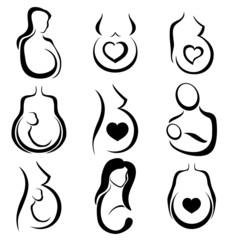 Pregnant woman symbol set