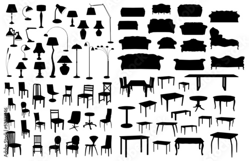Set of furniture silhouettes - 52831946