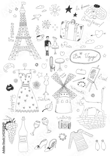 Tuinposter Doodle French Set