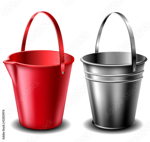Plastic and metal bucket set