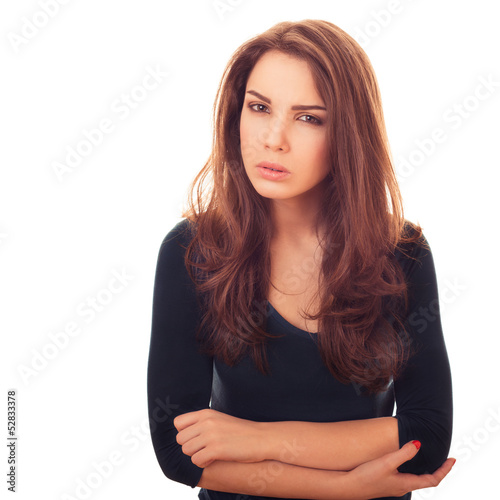 woman looks with suspicious