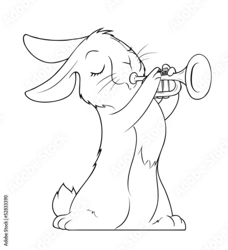 hare playing trumpet vector illustration isolated on white