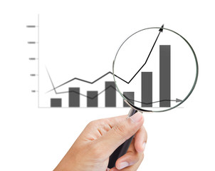 magnifying glass zoom on a business chart