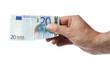 Hand hält Zwanzig Euro Schein, isoliert