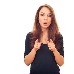 surprised woman shows finger on you