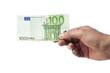 Hand hält Hundert Euro Schein, isoliert