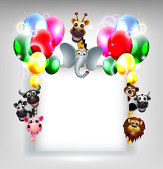 birthday background with balloon and animal safari on blank sign