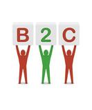 Men holding the word B2C. Concept 3D illustration. poster