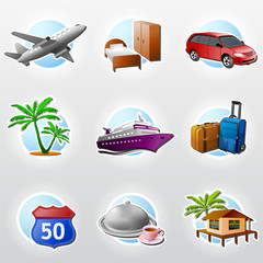 Set of vector icons for travel, tourism and vacation
