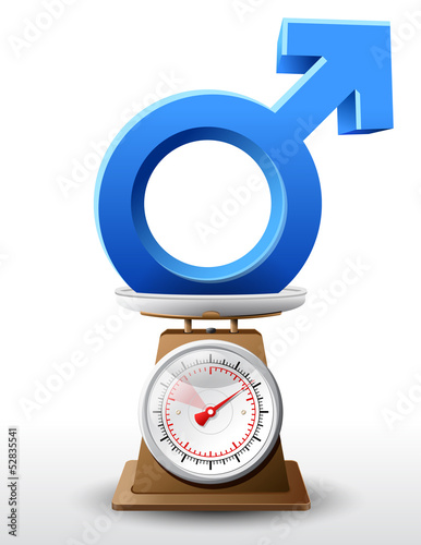 Weighing men symbol on scales. Vector illustration.