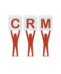 Men holding the word CRM. Customer Relationship Management.