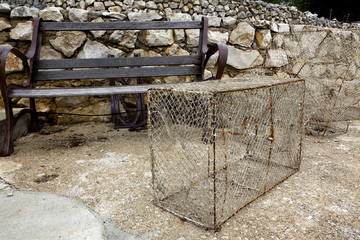 Bench and crab pots
