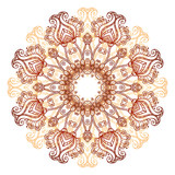 Ornate flowers henna colors vector mandala