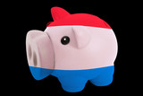 piggy rich bank in colors national flag of holland   for saving