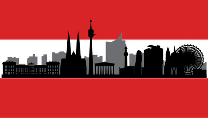 vienna skyline with flag