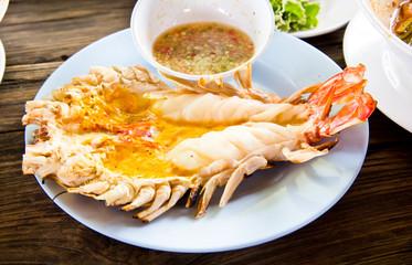Grilled fresh big shrimp ( Macrobrachium rosenbergii) at Thailan