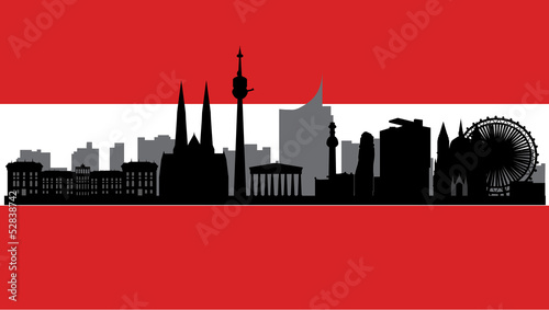 vienna skyline with flag