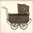 Retro styled image of a vintage baby stroller