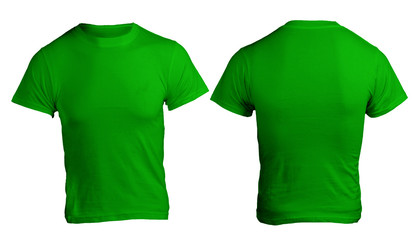 Green men's blank shirt template, front and back