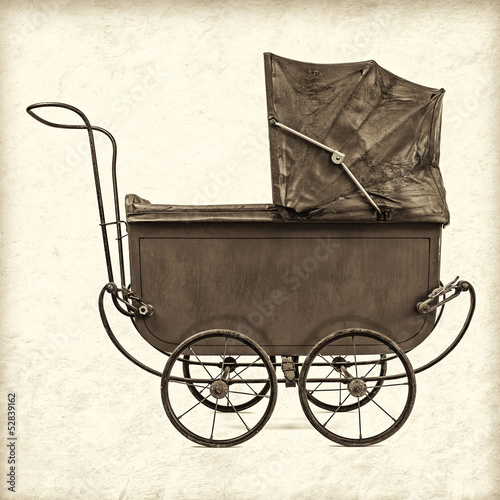 Retro styled image of a vintage baby stroller Poster