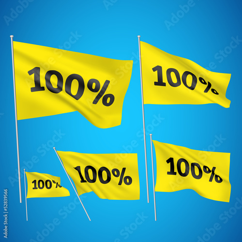 100 percents - yellow vector flags