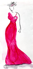 long pink evening dress of 30th years