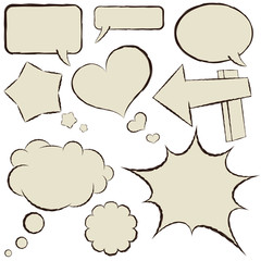 Collection of beige comic speech bubbles