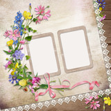 Flowers and frame on vintage background