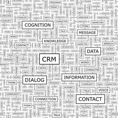 CRM. Word cloud concept illustration.