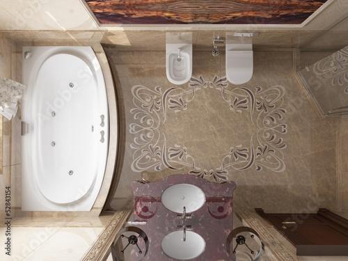Interior the bathroom in classic style - 52843154
