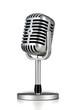Leinwandbild Motiv Vintage silver microphone isolated on white background