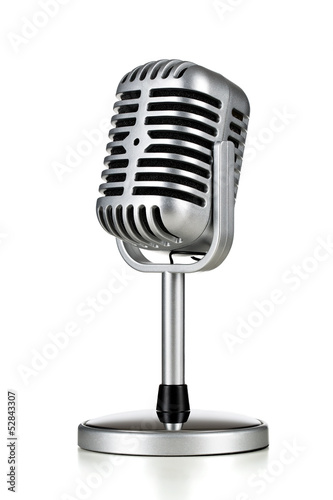 Staande foto Muziekwinkel Vintage silver microphone isolated on white background