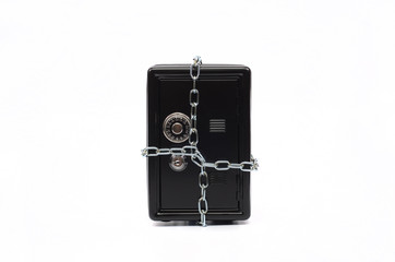 Steel safe with money , money saving concept