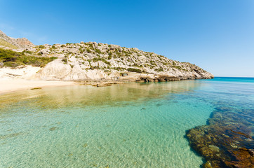 Bay beach turquoise sea water, Cala San Vicente, Majorca