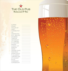 Menu list for beer