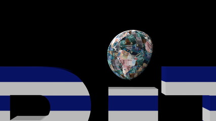 Euro globe and austerity text with Greek flag illustration