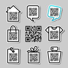 QR-Code. Set of 8 pictograms
