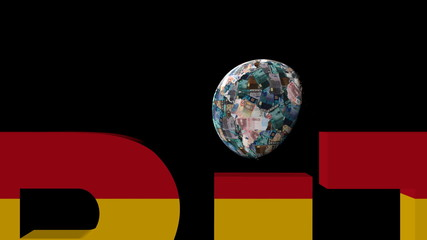 Euro globe and austerity text with Spanish flag illustration