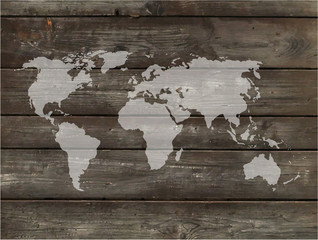 Vector world map with wood background