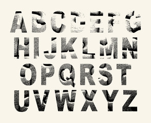Grunge scratched vector font. Use for design.