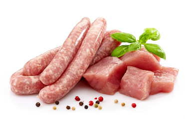 fresh raw sausages and meat