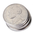 Isolated Nickel Coins Stack