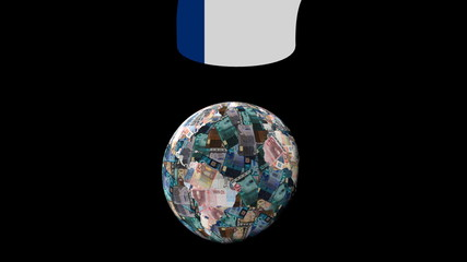 Euro globe and question mark with Finnish flag illustration