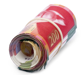 Roll of 200 Israeli New Shekels Bills