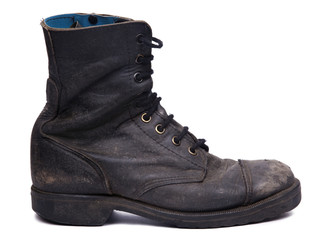 Isolated Used Army Boot - Side View