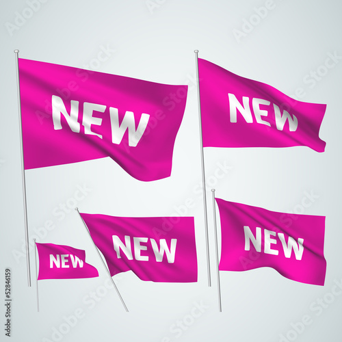 New - pink vector flags