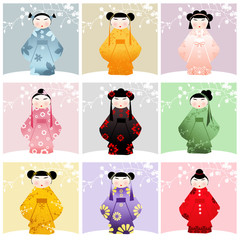 Kokeshi dolls collage