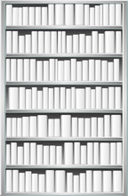 Bibliothèque avec des livres blancs