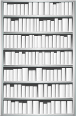 Bookcase with white books