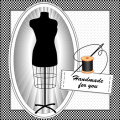 Tailor's Model, dress form, needle, thread, sewing label, frame